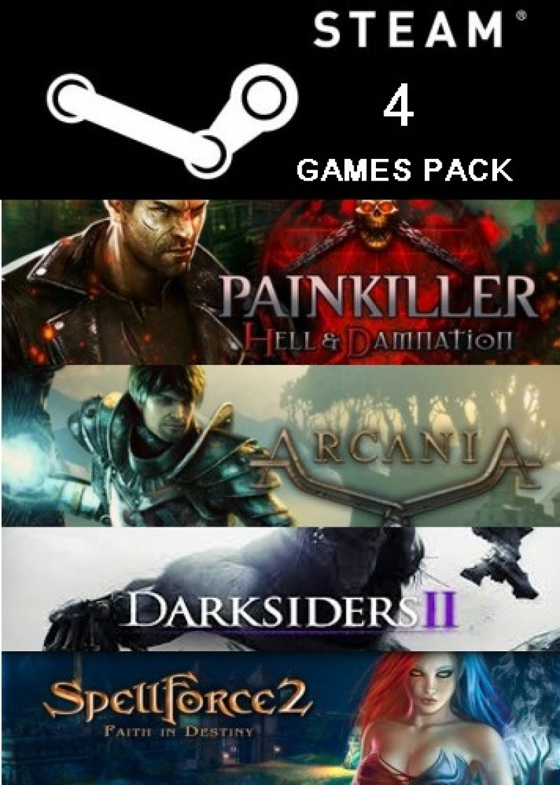 STEAM 4-Games PACK: (Painkiller: Hell & Damnation, ArcaniA, Darksiders II, and SpellForce 2: Faith in Destiny)